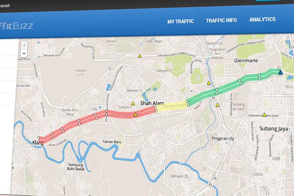 TrafficBuzz - app berasaskan trafik dan peta