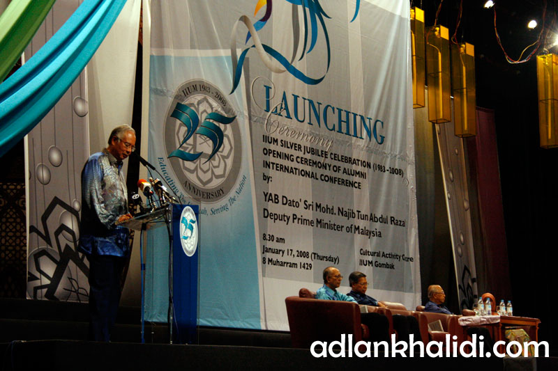 Dato Najib during his speech in IIUM Silver Jubilee Launching Ceremony 2008
